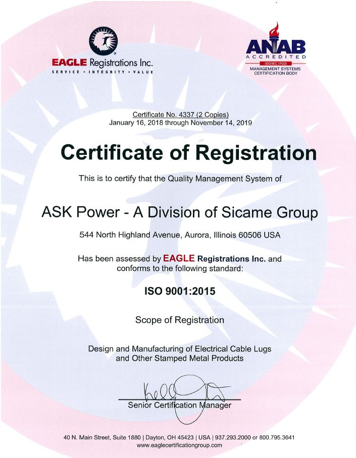 ASK Products Inc ISO 9001-2015 Certificate